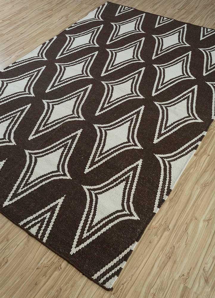 anatolia beige and brown wool flat weaves Rug - FloorShot