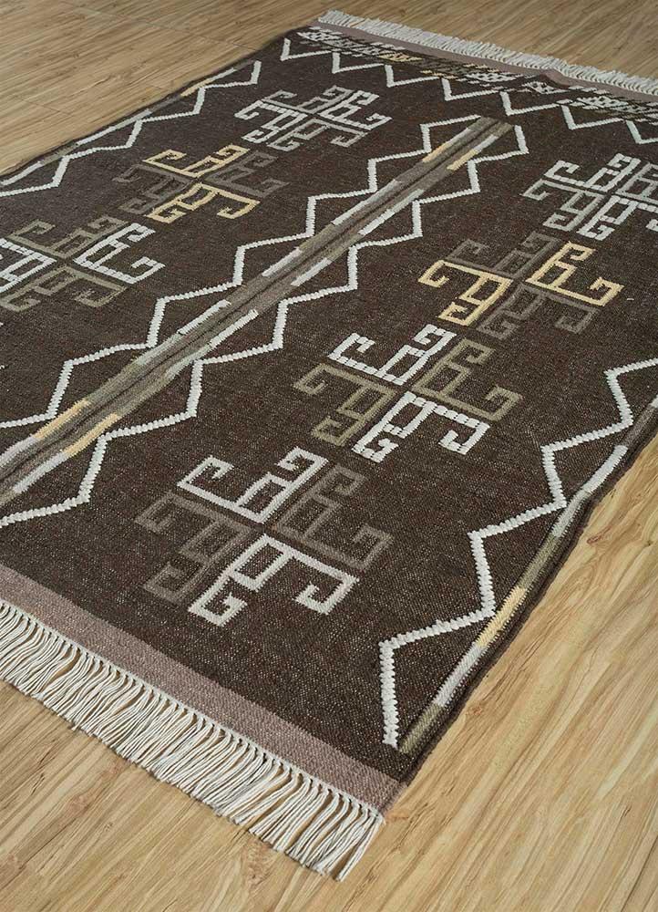 indusbar beige and brown wool flat weaves Rug - FloorShot