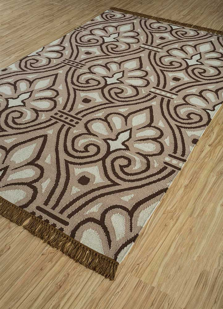 heritage gold wool flat weaves Rug - FloorShot