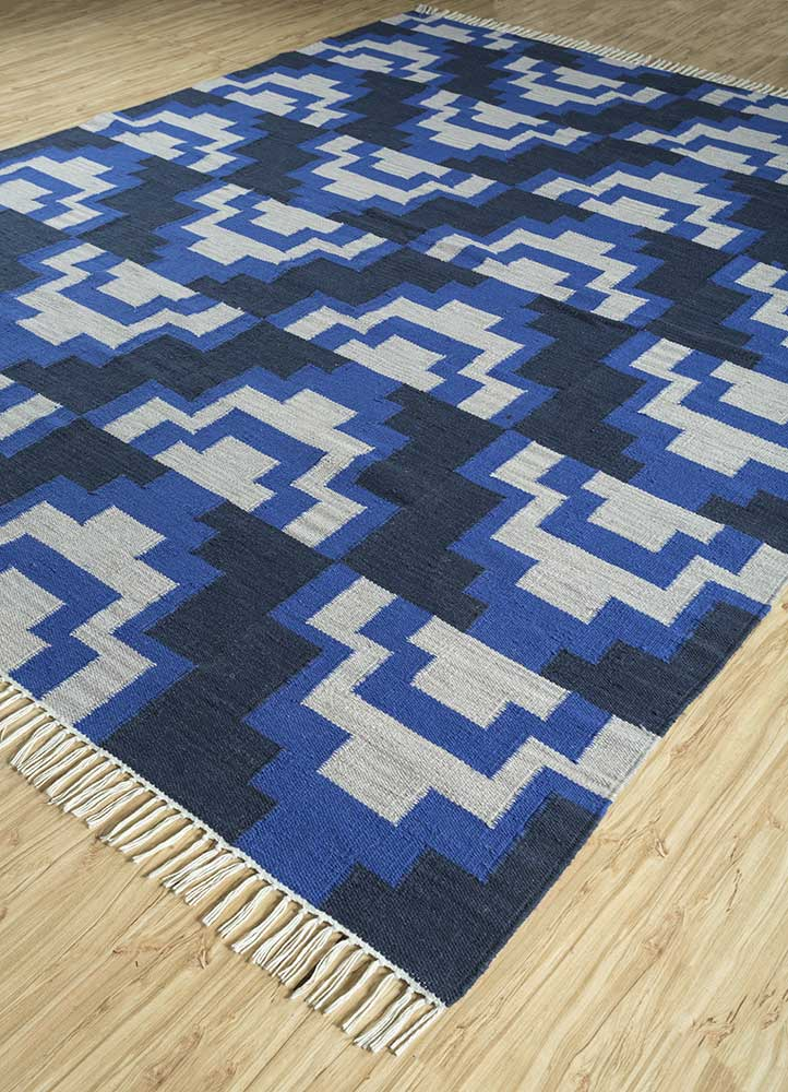 indusbar blue wool flat weaves Rug - FloorShot