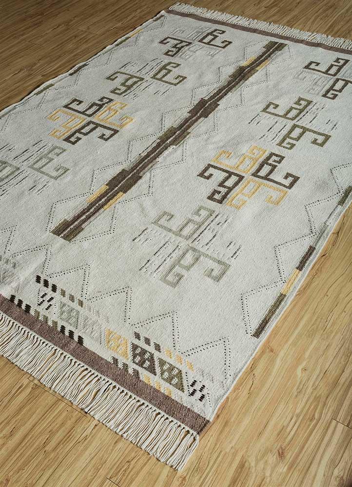bedouin ivory wool flat weaves Rug - FloorShot
