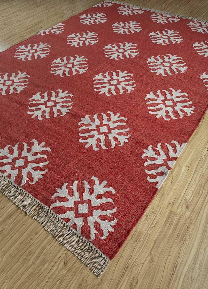 heritage red and orange wool flat weaves Rug - FloorShot