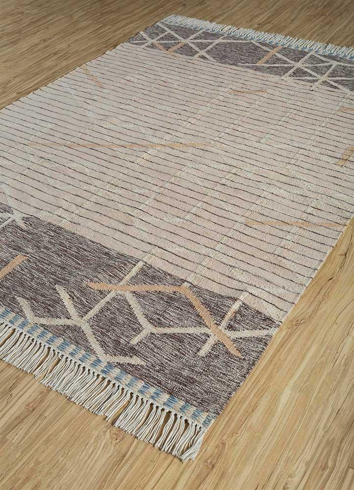 indusbar pink and purple wool flat weaves Rug - FloorShot
