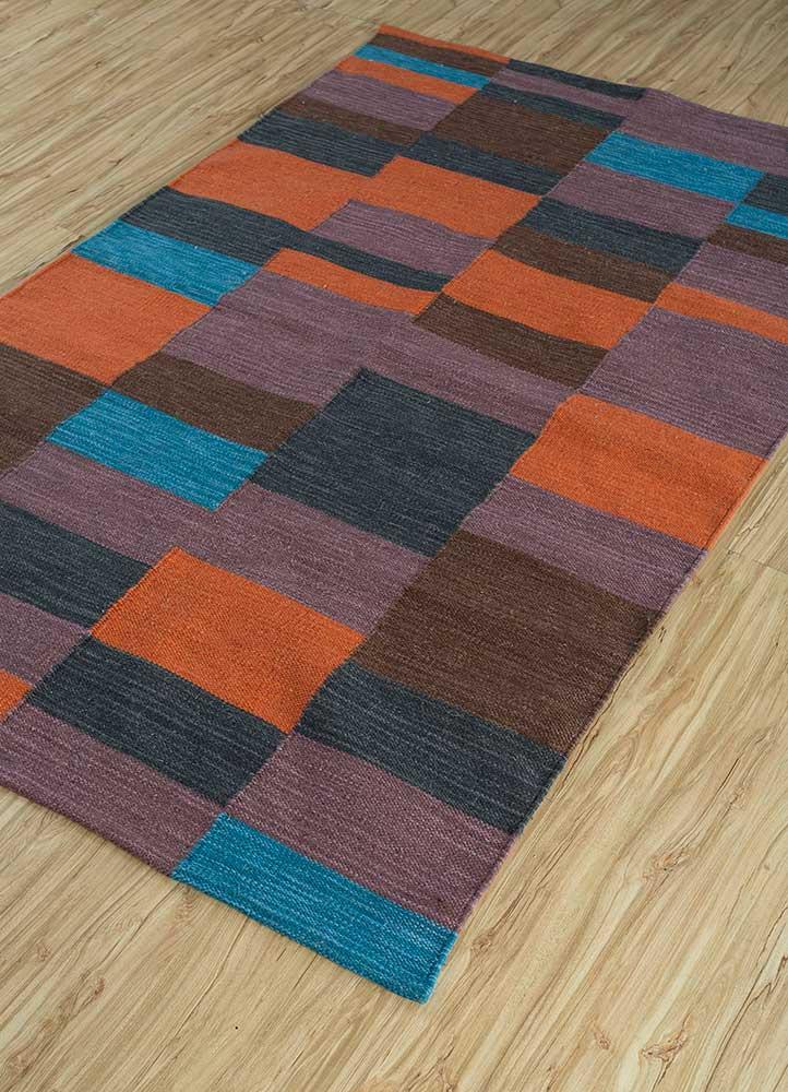 aqua beige and brown wool flat weaves Rug - FloorShot