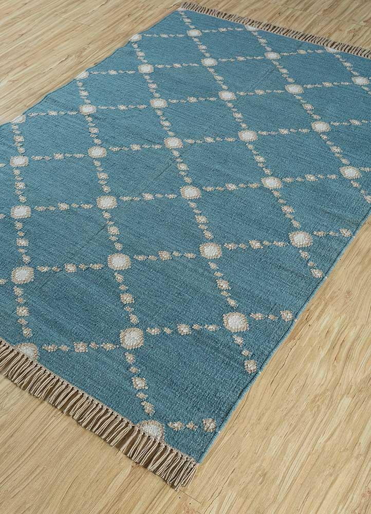 indusbar green wool flat weaves Rug - FloorShot