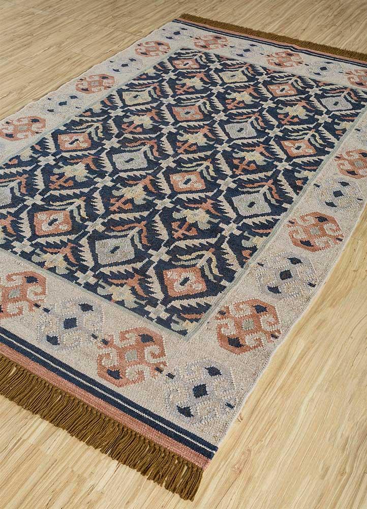 heritage beige and brown wool flat weaves Rug - FloorShot