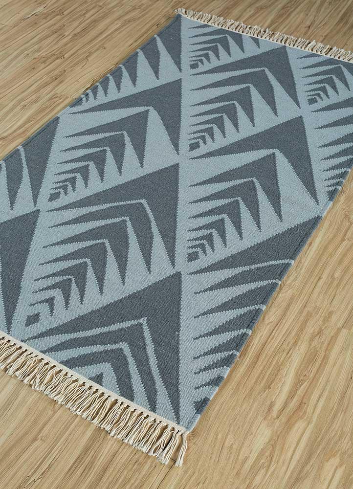 heritage blue wool flat weaves Rug - FloorShot
