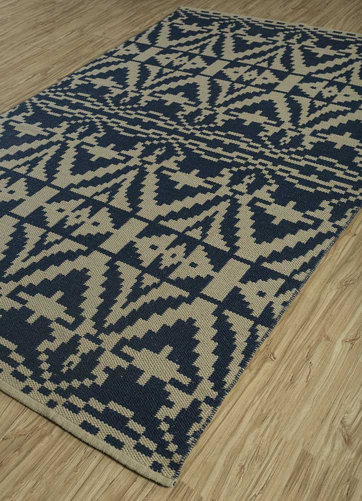bedouin blue wool flat weaves Rug - FloorShot