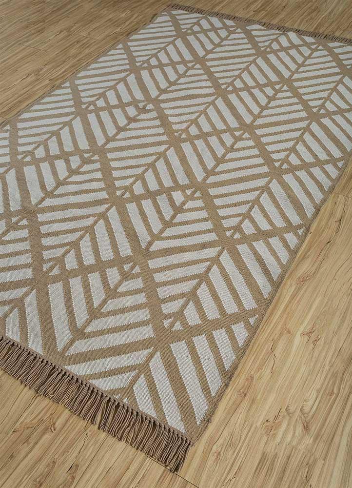 indusbar ivory wool flat weaves Rug - FloorShot