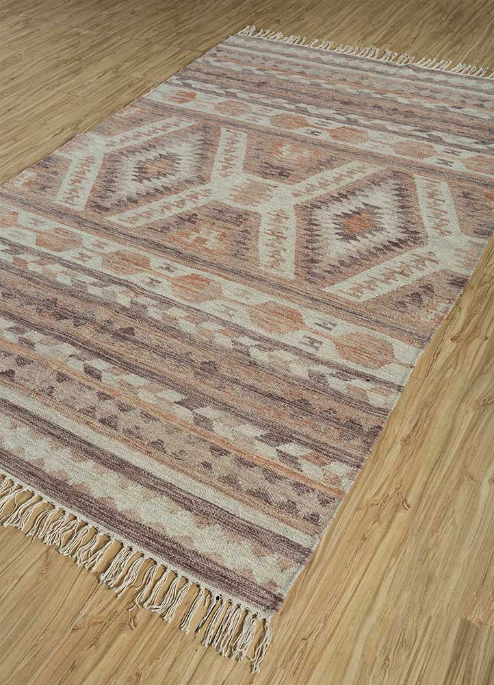 bedouin red and orange wool flat weaves Rug - FloorShot