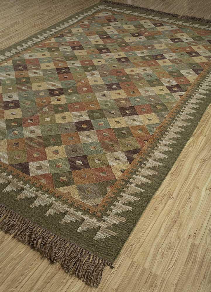 bedouin green wool flat weaves Rug - FloorShot