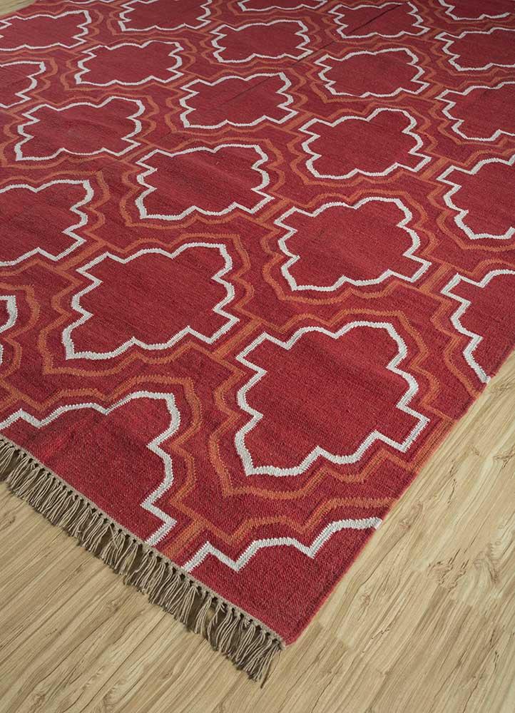 indusbar red and orange wool flat weaves Rug - FloorShot