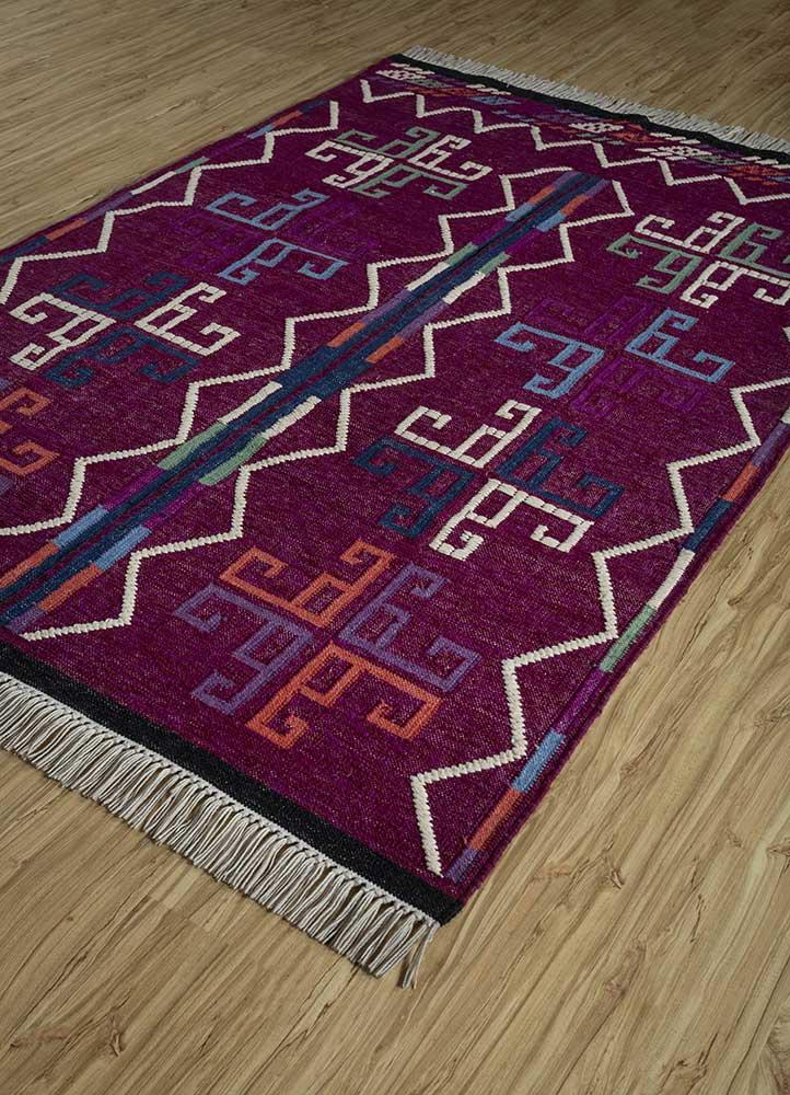bedouin pink and purple wool flat weaves Rug - FloorShot