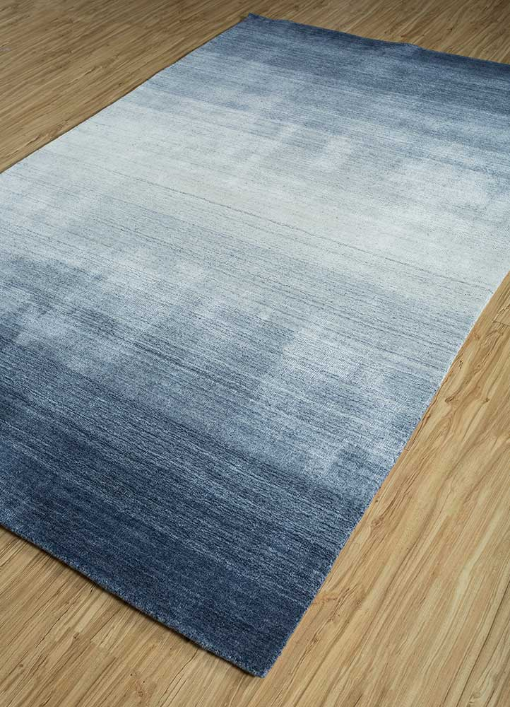 yasmin blue viscose hand loom Rug - FloorShot