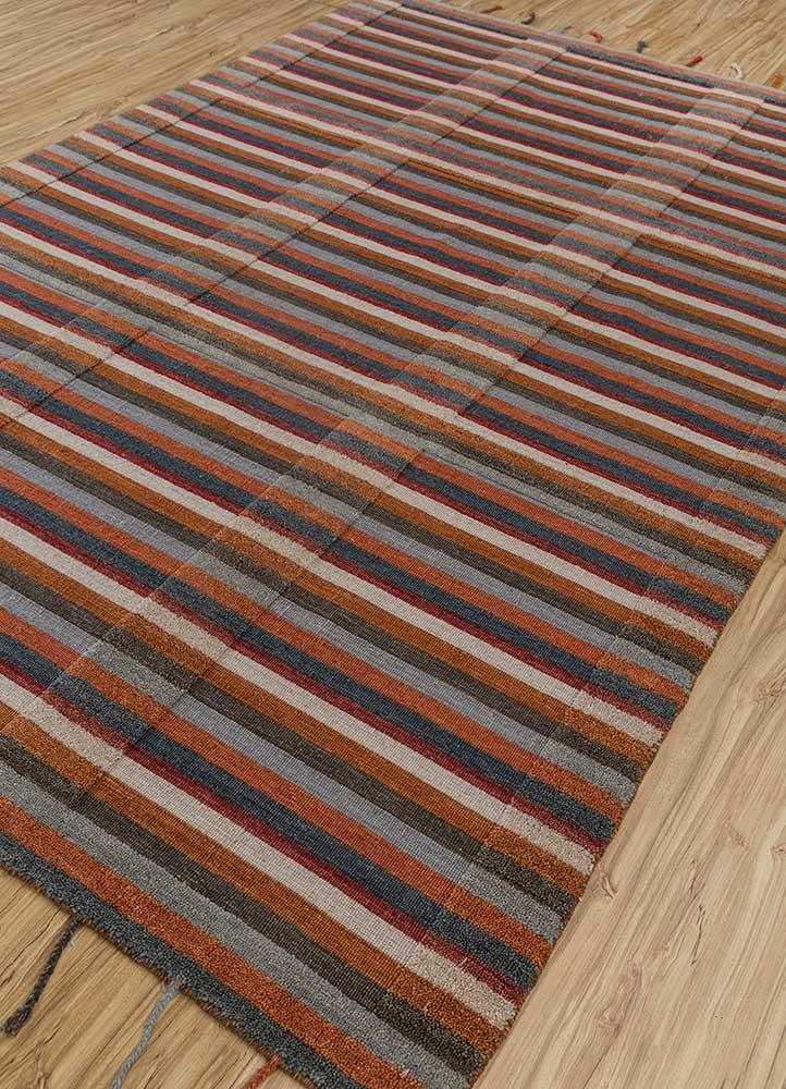 tesoro red and orange wool hand loom Rug - FloorShot