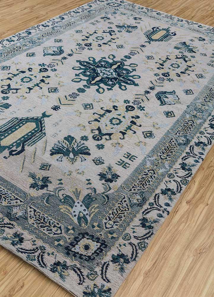 memoir green wool and viscose hand loom Rug - FloorShot