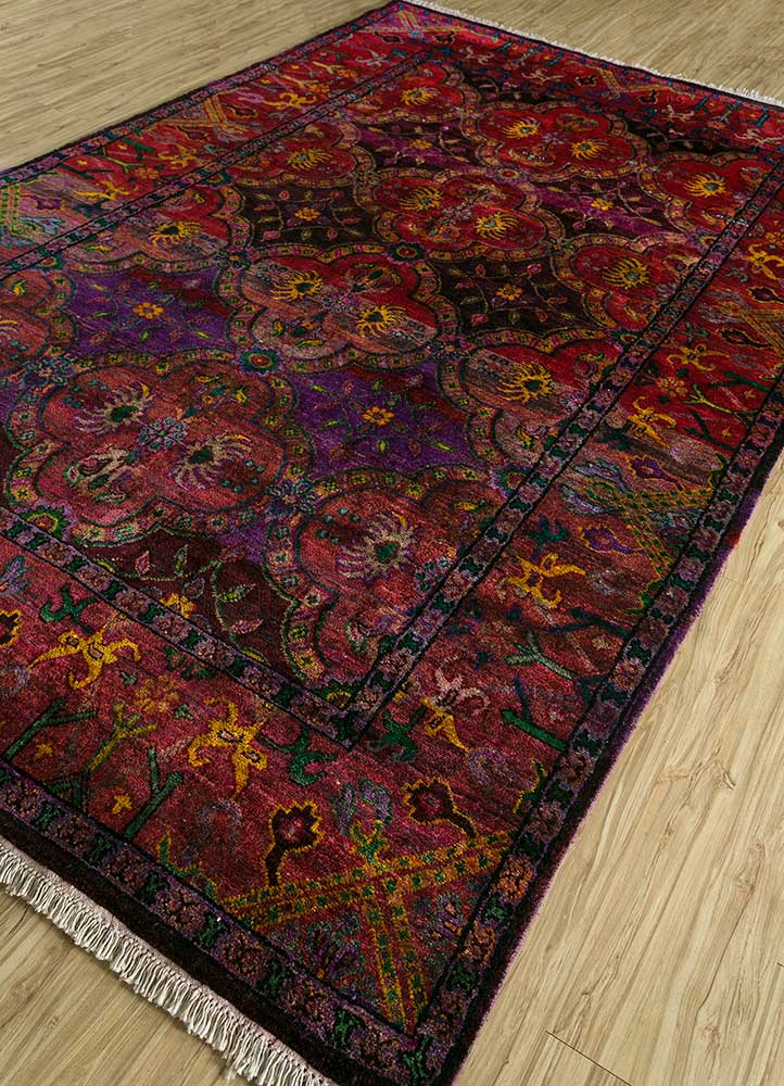 verna red and orange others hand knotted Rug - FloorShot
