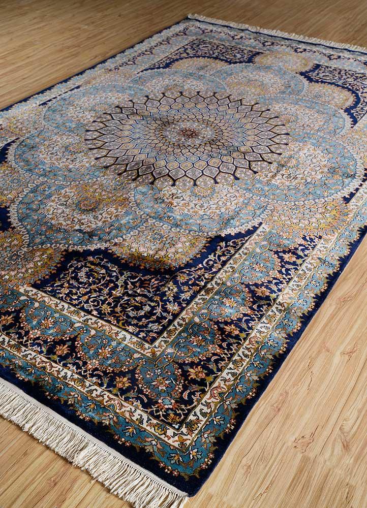gulmarg blue silk hand knotted Rug - FloorShot