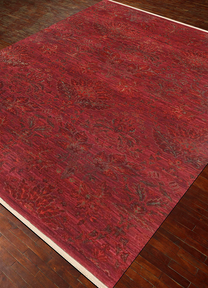 floret pink and purple wool and silk hand knotted Rug - FloorShot