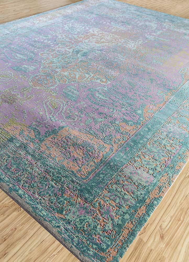 far east pink and purple wool and silk hand knotted Rug - FloorShot