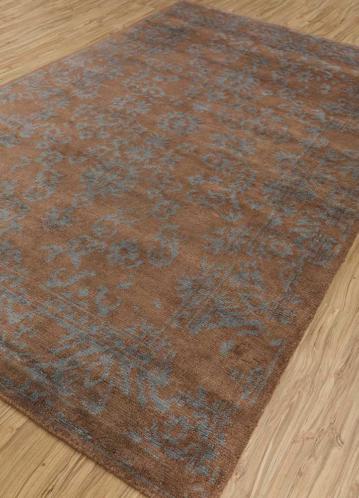 eden beige and brown wool and bamboo silk hand knotted Rug - FloorShot
