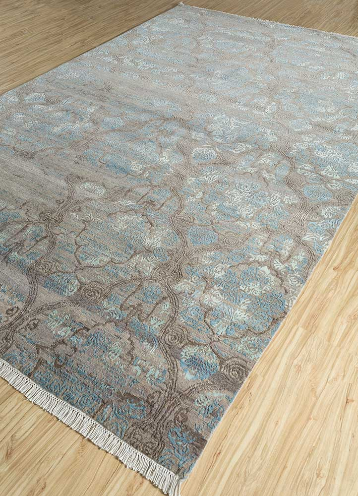 blithe beige and brown wool and bamboo silk hand knotted Rug - FloorShot