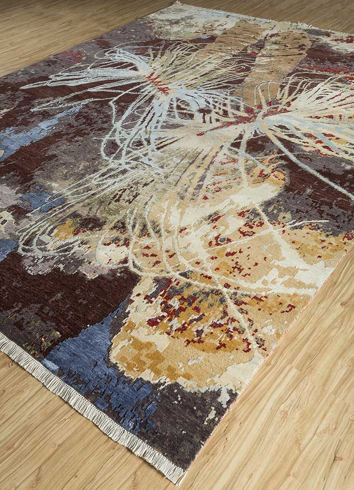 pansy beige and brown wool and bamboo silk hand knotted Rug - FloorShot