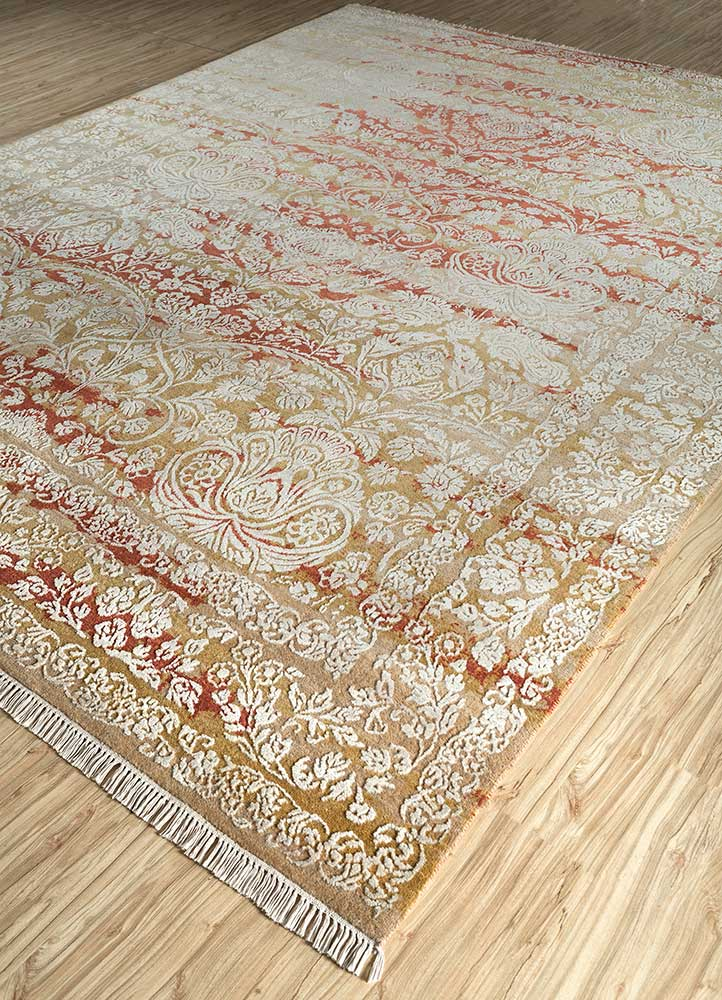 biscayne beige and brown wool and bamboo silk hand knotted Rug - FloorShot