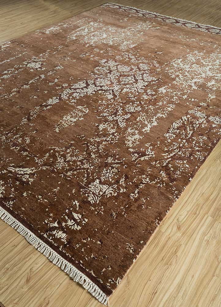 far east beige and brown wool and bamboo silk hand knotted Rug - FloorShot