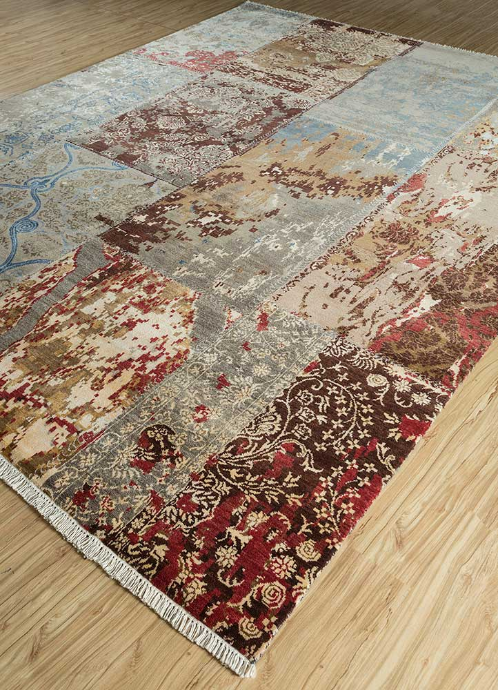 pansy red and orange wool and bamboo silk hand knotted Rug - FloorShot