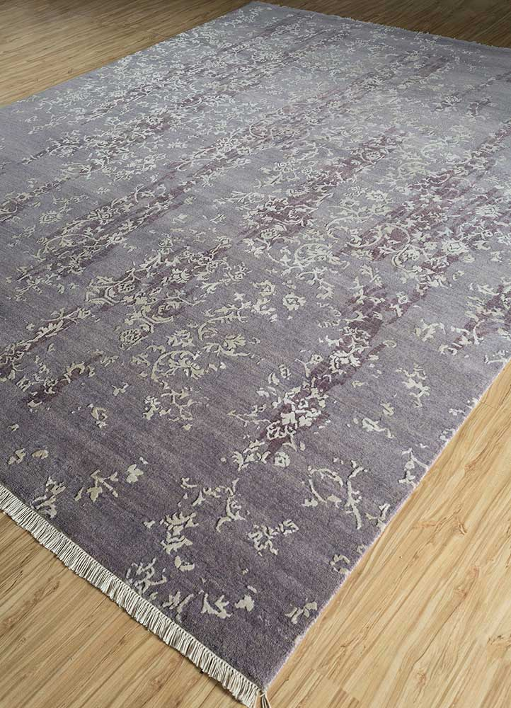mezcla grey and black wool and bamboo silk hand knotted Rug - FloorShot