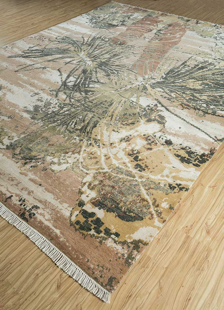pansy gold wool and bamboo silk hand knotted Rug - FloorShot