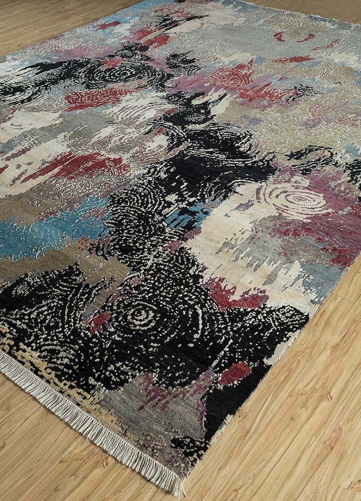 pansy ivory wool and bamboo silk hand knotted Rug - FloorShot