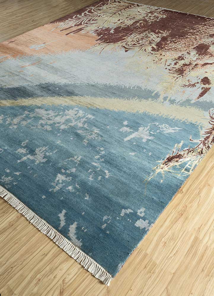 pansy blue wool and bamboo silk hand knotted Rug - FloorShot