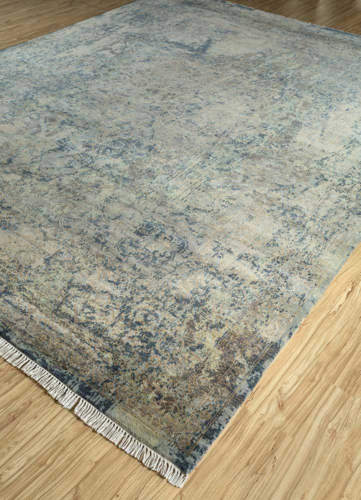 memoir blue wool and bamboo silk hand knotted Rug - FloorShot