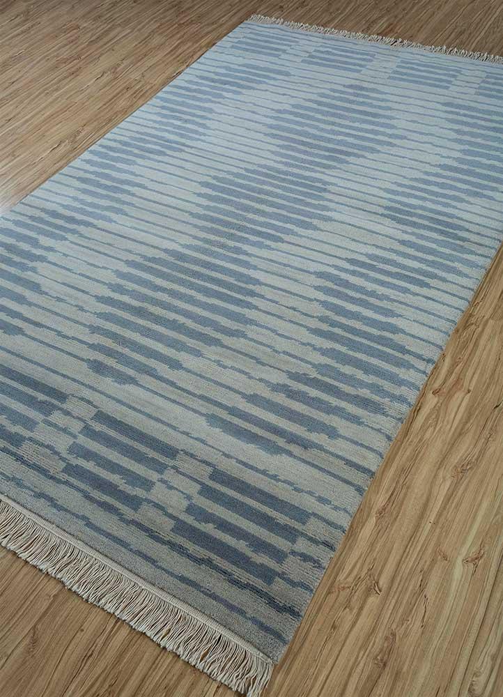 erbe blue wool hand knotted Rug - FloorShot