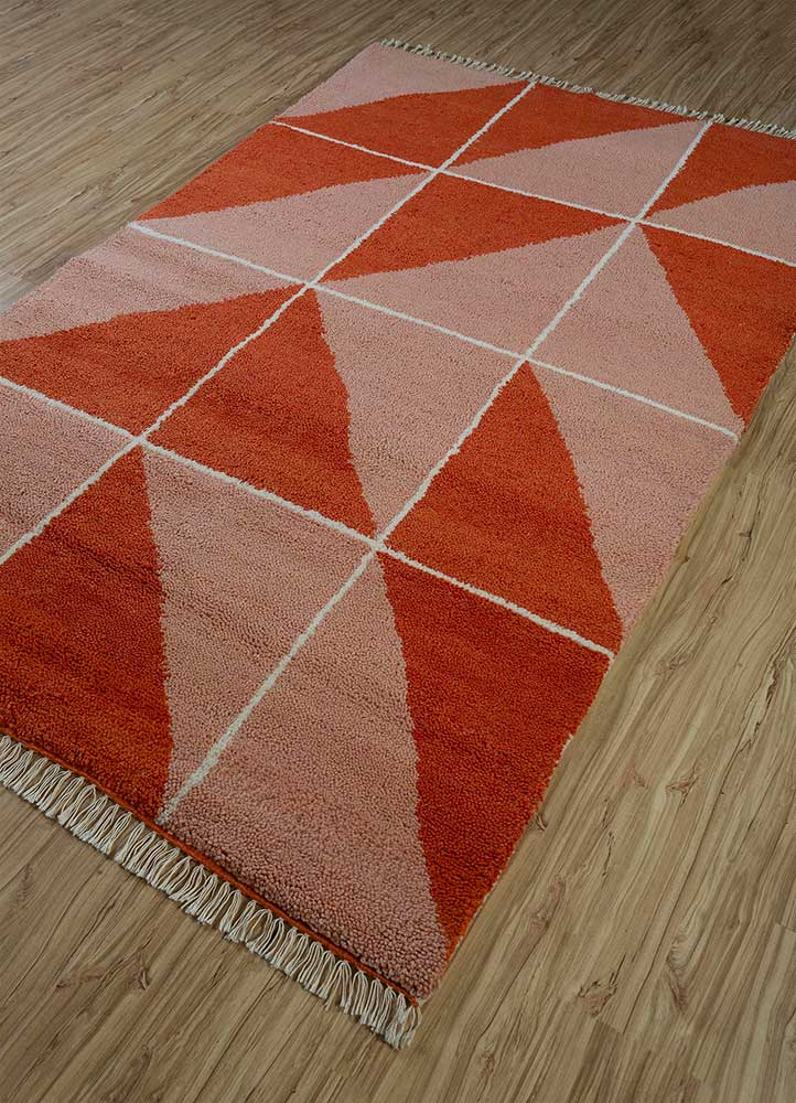 cleo red and orange wool hand knotted Rug - FloorShot