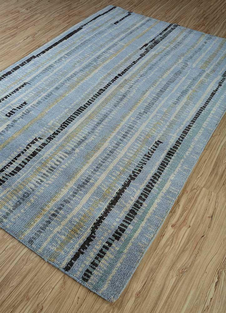 esme blue wool hand knotted Rug - FloorShot