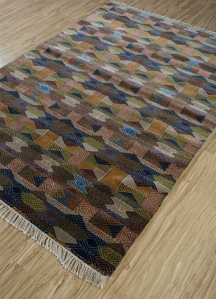 erbe beige and brown wool hand knotted Rug - FloorShot