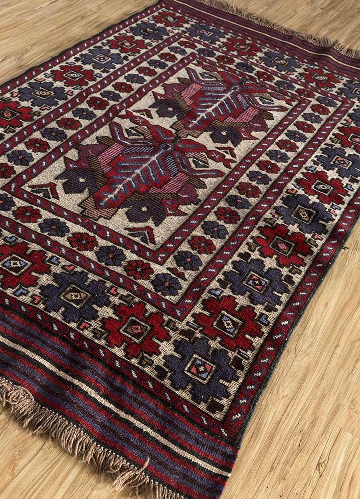kiaan red and orange wool hand knotted Rug - FloorShot