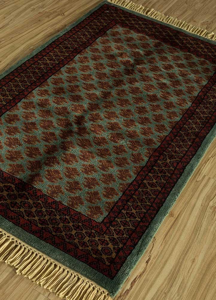 kiaan green wool hand knotted Rug - FloorShot
