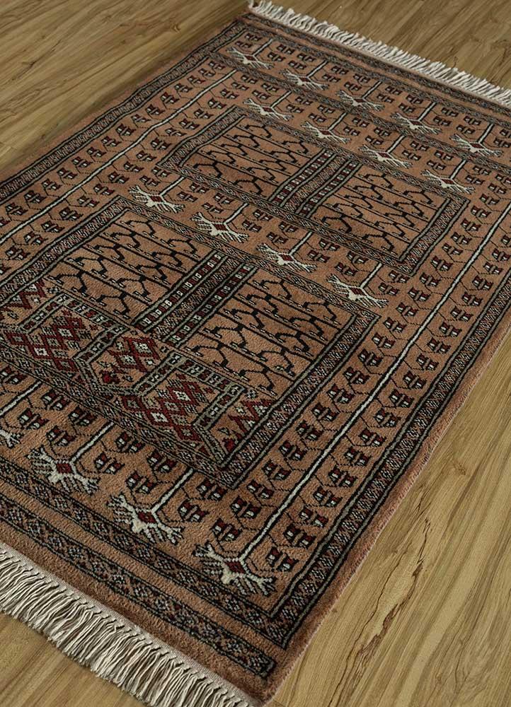 kiaan beige and brown wool hand knotted Rug - FloorShot