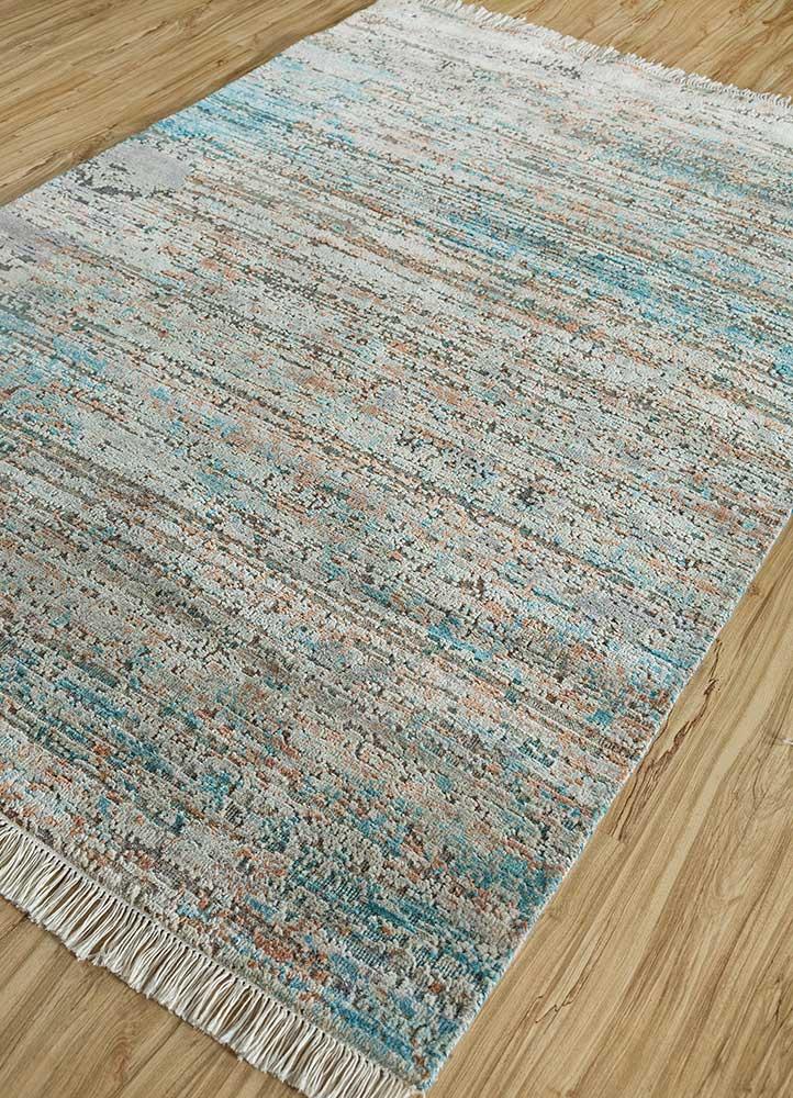 memoir blue wool and silk hand knotted Rug - FloorShot