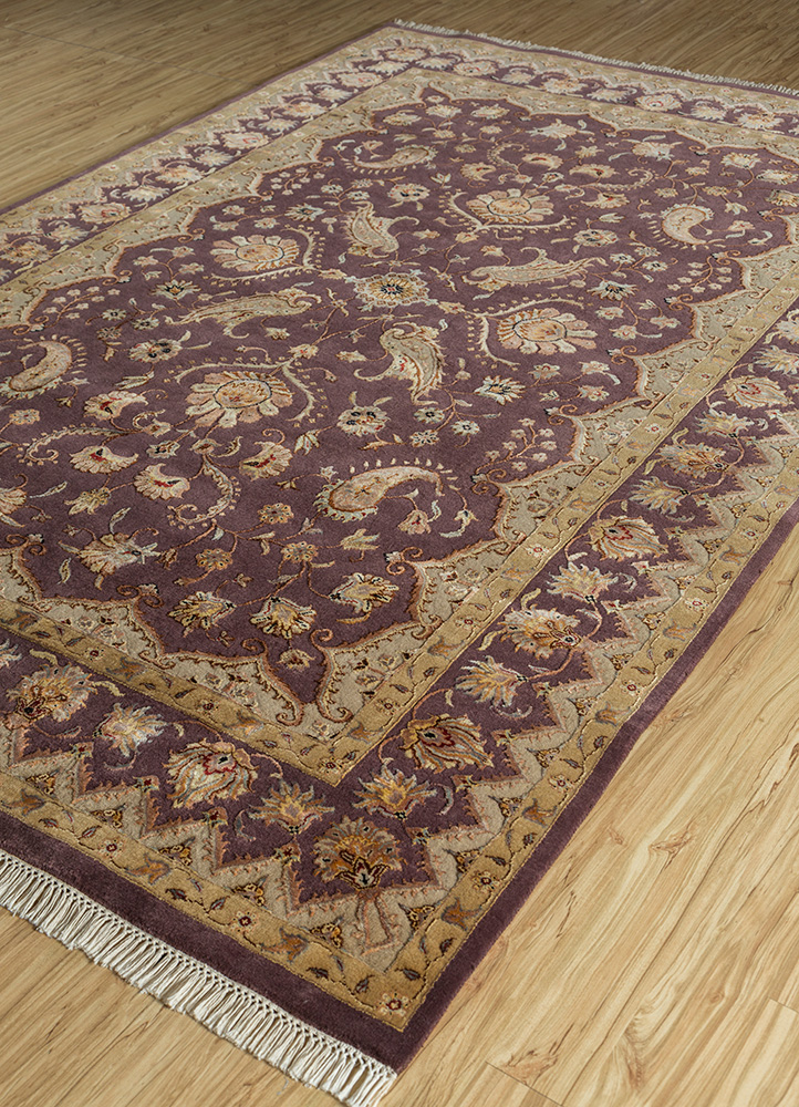 aurora pink and purple wool and silk hand knotted Rug - FloorShot
