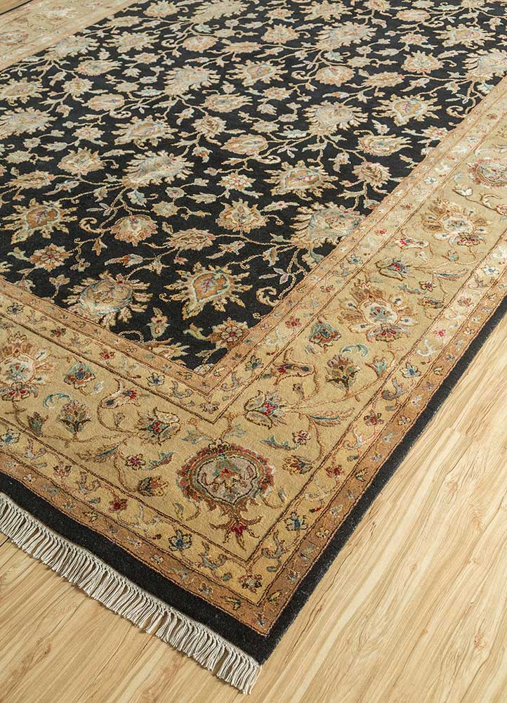 aurora grey and black wool and silk hand knotted Rug - FloorShot
