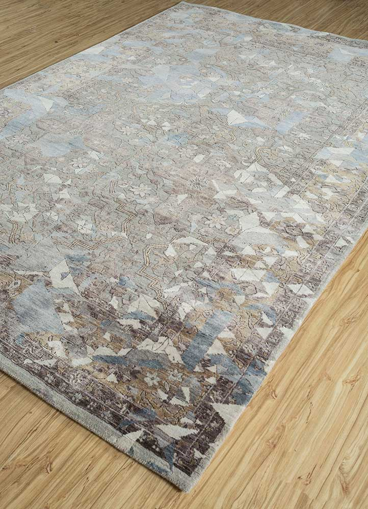 far east pink and purple wool and viscose hand knotted Rug - FloorShot