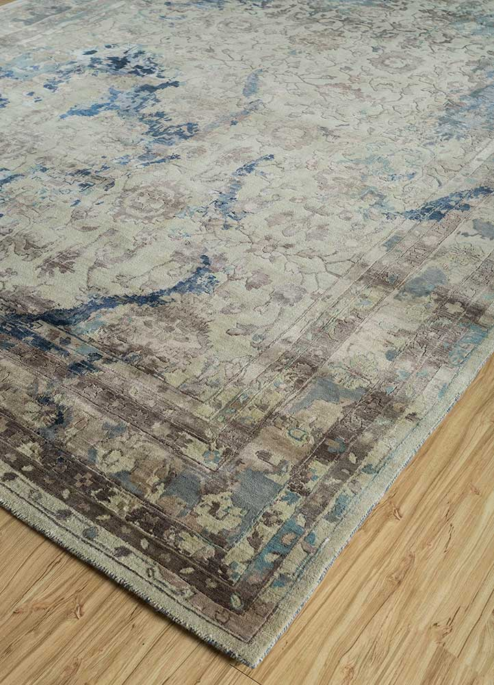 far east ivory wool and viscose hand knotted Rug - FloorShot