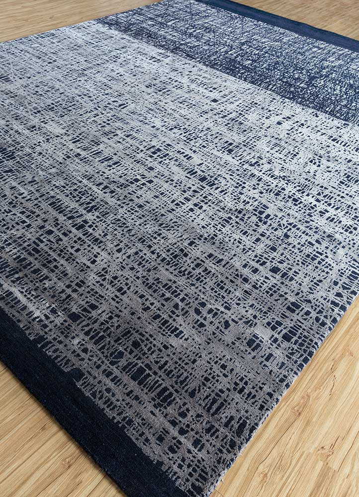 free verse by kavi blue wool and silk hand knotted Rug - FloorShot