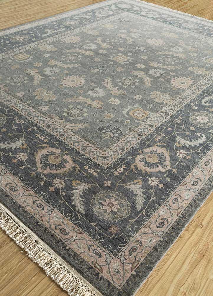 biscayne grey and black wool hand knotted Rug - FloorShot