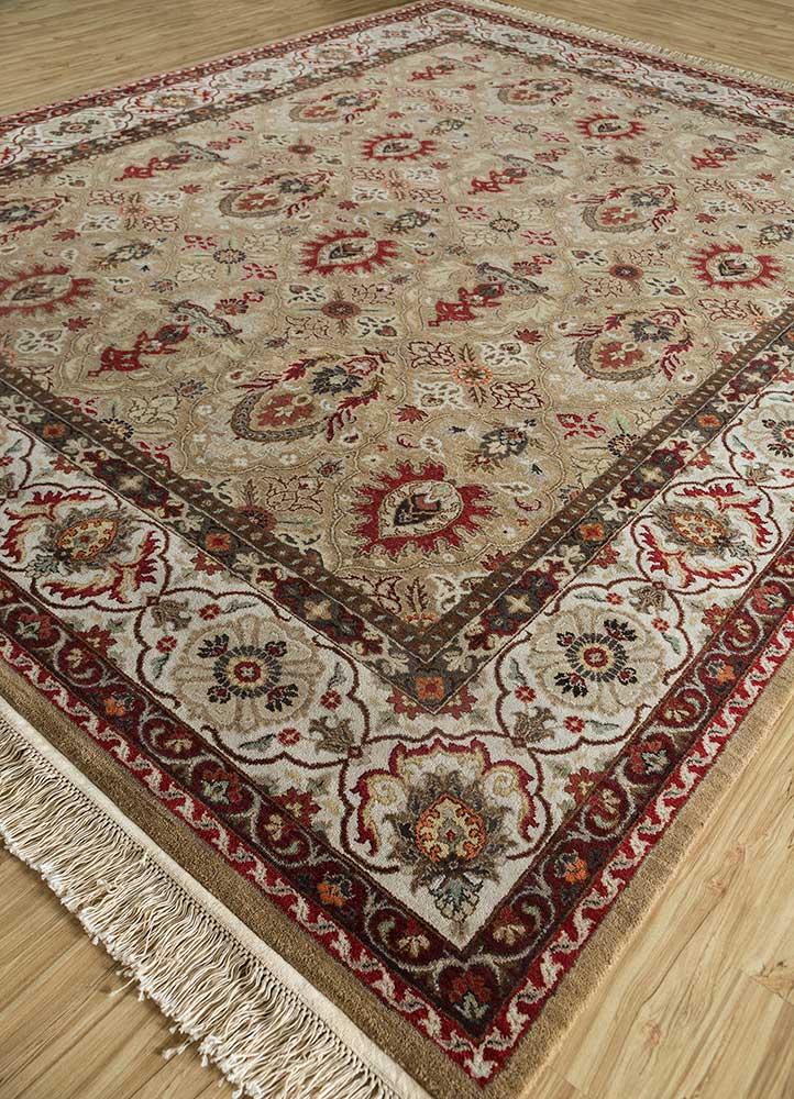 biscayne beige and brown wool hand knotted Rug - FloorShot